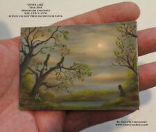 Philippe Fernandez ACEO Original Miniature Painting Lake Moon Landscape Trees