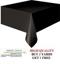 Plain Black Tablecloth Easy Wipe/Clean Vinyl Oil Cloth PVC Fabric Material