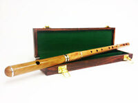 Professional D Flute Sheesham Wood Natural Finish with Wooden Case 4Part