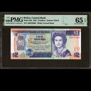 Central Bank of Belize 2 Dollars 1991 PMG 65 GEM Uncirculated EPQ P-52b