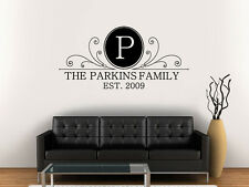 Wall Decal Vinyl Sticker Sign Monogram Family Name Wedding Gift  r1191