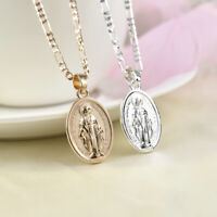 Men Women Gold Silver Plated Catholic Virgin Mary Pendant Necklace Jewelry Gift