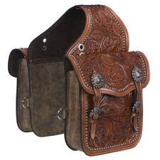 C-33-0 Tough 1 Leather Floral Oak Leaf Tooled Horse Saddle Bag Medium Oil