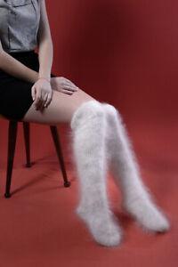 "New white Handmade Knee cashmere mohair Socks Half Hose warm goat down 9""inch"
