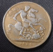 More details for queen victoria silver crown - pre 1920 silver coin - 925 sterling - 1892
