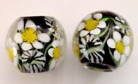 10pcs exquisite handmade Lampwork glass beads black flower 14mm