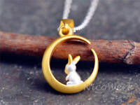 Silberkette mit Anhänger Hase Kaninchen Tier Matt Mond Rund Golden Verspielt