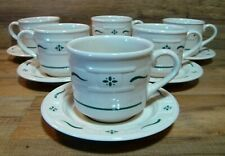 Longaberger Pottery - Woven Traditions Green Coffee Cups & Saucers - Nos New