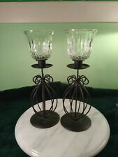Princess House Fantasia Set of Two Tulip Crystal Votive Candle Holders w/ stands