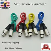 3ft XLR Female to 3-Pin Male Microphone Audio Shielded extension Cable 4 Color