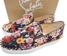Christian Louboutin Floral Pik Boat Woman Flat Red Sole Sneakers Skate Shoe 40