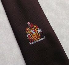 COAT OF ARMS CREST TIE BURGUNDY MADDOCKS & DICK 1990s SHIELD RED DRAGON