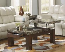 The Room Style Brown Faux Stone Pattern Top w/ Drawer Coffee Table or End Table