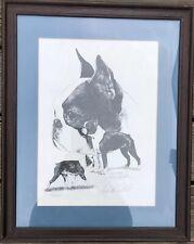 Vtg Signed Numbered Print Lyn St Clair Stubbs Boston Terrier Ltd Edition Framed