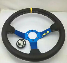 Universal SPAR Steering Wheel 350mm Leather DEEP DISH Blue For OMP MOMO SPARCO