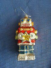 "RAZ 5.5"" Blown Glass Robot Christmas Ornament"