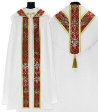 White/red Semi Gothic Cope with stole KY113-BC25p Capa pluvial Blanca Piviale