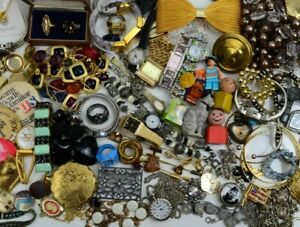 Junk Drawer Lot Vintage to Now Collectibles Estate Jewelry Toys  Pins Watches