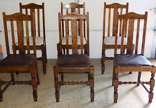 18677 6 Antique Craftsman Mission Oak Arts & Crafts Dining Chairs ~ Barley Twist