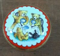 Halcyon Days Enamel Bears Screw Top Trinket  Pill Box England Collectible