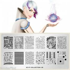 MoYou London SCI-FI 5 Collection Stamping Schablone, Ornament Streifen Punkt