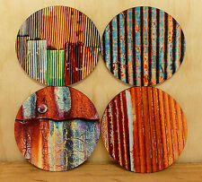 SET OF FOUR COASTERS - ROUND 95MM - RUSTY IRON SHEETS