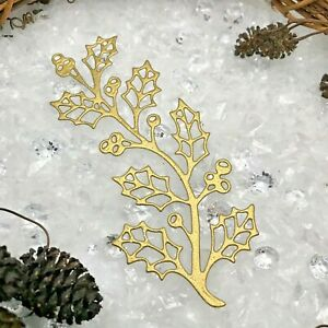 8 Festive Holly Berry Branch Christmas Die Cuts - Metallic, Glitter, Foil Card