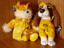 Firefighter Dogs Beanies 9/11 Era Collectible Stuffed FD#1 Raincoats & Hats