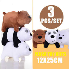 3PCS We Bare Bears Panda Grizzly Ice Bear Plush Toy Stuffed Soft Doll 12x25cm