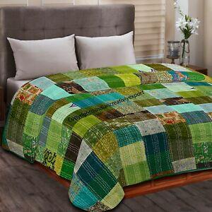 Patola Silk Kantha Quilt Patch Work Handmade Bedspreads Boho Blanket Home Decor
