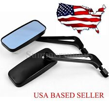 MOTORCYCLE BLACK RECTANGLE CUSTOM REARVIEW SIDE MIRRORS FOR HARLEY SMOKE BLUE US