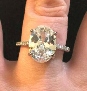 CZ Engagement Ring Rhodium Plated Oval 6+ Carats 14x10mm BIG Sz 7 #1607-7