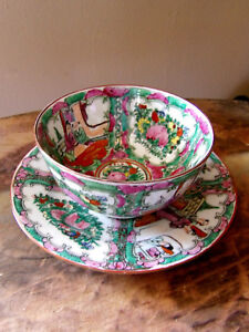 2 Vintage Hand Painted PLATE & BOWL PIECES OF CHINA / PLATE AND BOWL - Hong Kong