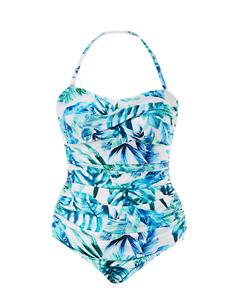 Emmeline Palm Draped Bandeau Women's One Piece Swimsuit/Swimwear- Green
