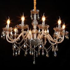 10 Arm E12 Cognac Crystal Glass Chandelier Ceiling Light Candle Pendant Lamp