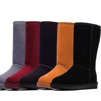 Women's Winter Suede Snow Boots Warm Fur Lined Faux Sheepskin Mid Calf Shoes New