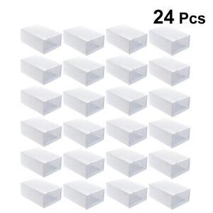 24Pz Plastica Scatole a cassetti impilabili sottili per scarpe Organizzatore