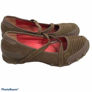 Skechers Tan Hook Loop Strap Suede Memory Foam Sneakers Women's Size 8