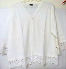 women's XXXL 3X open front Sweater crochet lace trim NIP