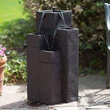 Solar 4 Tier Modern Water Fountain Poly-Resin Home Living Outdoor Decor Garden