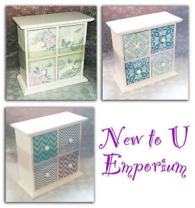 Small chest of wooden drawers white vintage style patterns-NEW