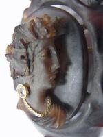 750er Gelbgold Brosche Antik um 1850 Damenkopf mit Diamant Ohrringe Maße 6x4,8cm