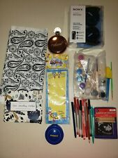 large LOT SONY HEADPHONES  TABLE CLOTH PAINTS BRUSHES DR SEUSS PAPER PENS BUTTON