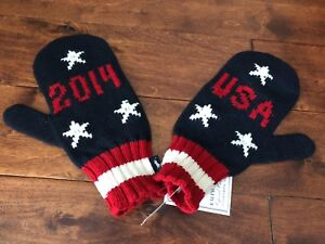 NWT POLO RALPH LAUREN US OLYMPIC TEAM MITTENS, SZ L/XL MADE IN THE USA
