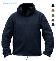 Mens Fleece Jackets Military Tactical Hooded Zip Up Coats Army Hiking Sportswear