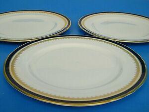 """3 AYNSLEY EMBASSY LEiGHTON SCALLOPED GOLD & COBALT BLUE 10"""" DiNNER PLATE's"""