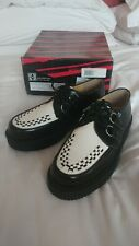 T.U.K. New Unisex Low Sole Creepers Black/White Leather UK6 6.5 7 EU40 BNIB