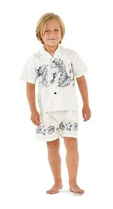 Made In Hawaii Boy Cotton Aloha Hawaiian Outfit In Grey Hibiscurs Cross in White