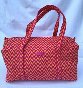 NWT Vera Bradley Large Duffel Bag Orange Pink Zig Zag Retired