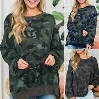 Women Sweatshirt Casual Camo Tunic Top Pullover Long Sleeve Baggy Blouse Warm